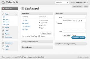 Tableau de bord - WordPress 3.0