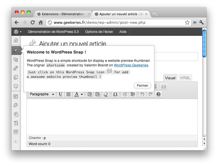 WordPress 3.3 Pointers