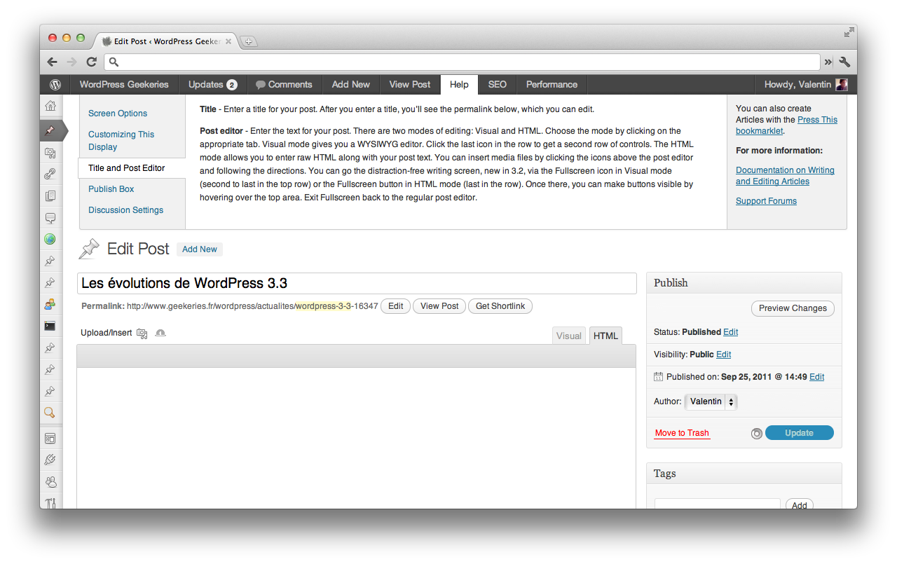 WordPress 3.3 help